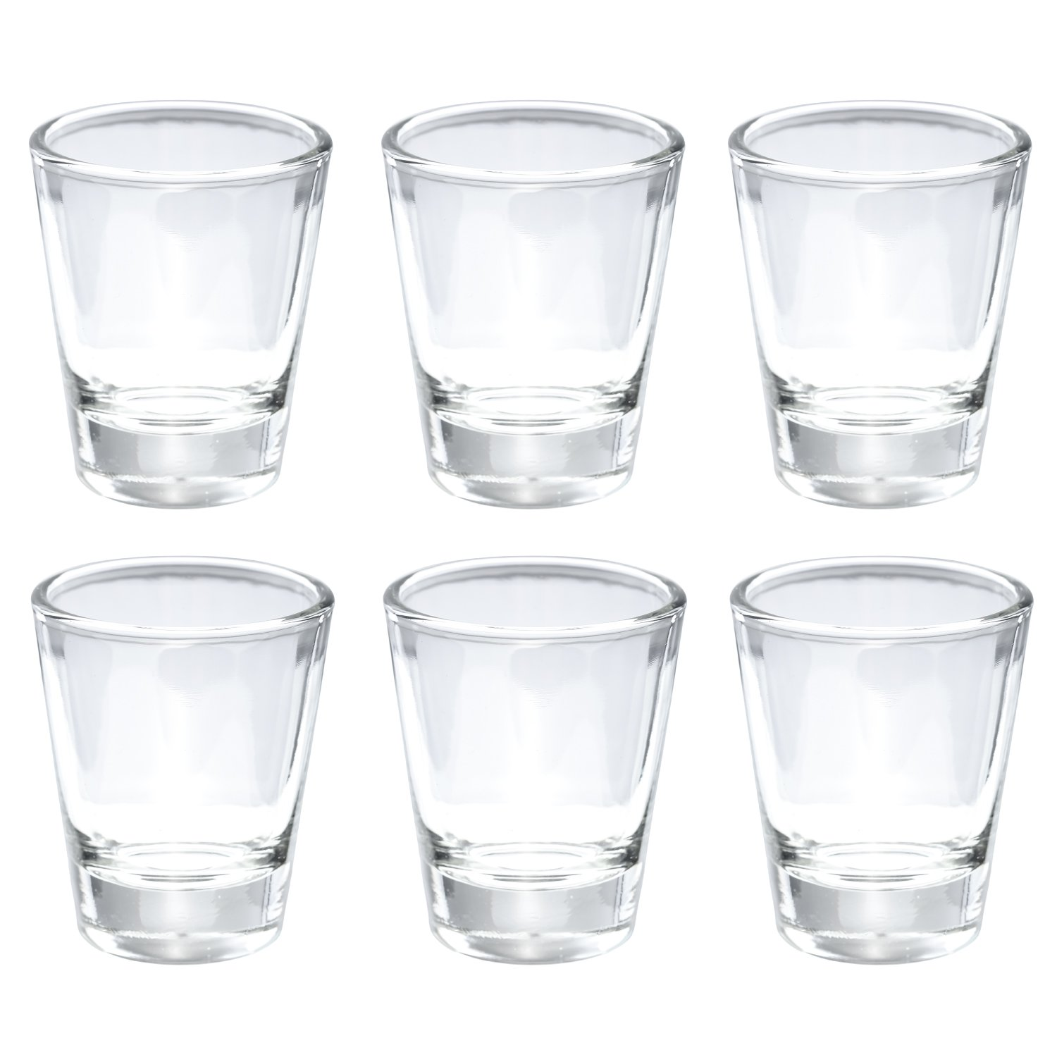 Thirsty Rhino Karan, Round 1.5 oz Shot Glass with Heavy Base, Clear Glass, Set of 6 by Thirsty Rhino