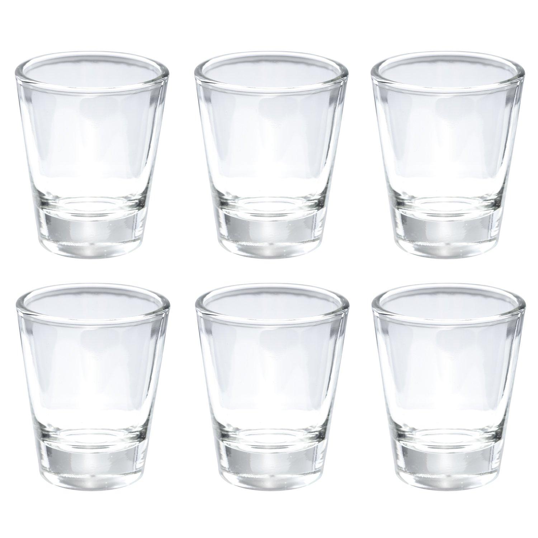Thirsty Rhino Karan, Round 1.5 oz Shot Glass with Heavy Base, Clear Glass, Set of 6