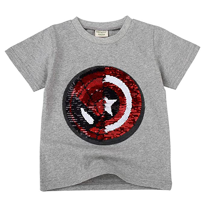 Flip Sequins for Boys Kids Girls Magic Sequin Cotton T Shirt Tops 3 8 Years (Size 3 8)