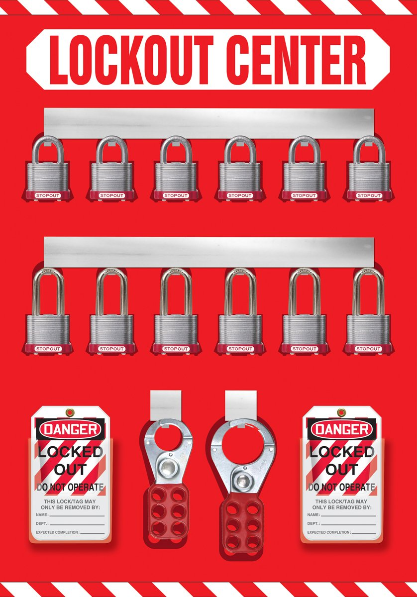 Accuform Signs KST810 STOPOUT Lockout Store-Board with Kit, 12-Padlock, 20'' Length x 14'' Width, Aluminum, Includes 6 Steel Padlocks with 3/4'' Shackle, 6 Steel Padlocks with 1-1/2'' Shackle, 50 HS-Laminate Lockout Tags, 50 Plastic Ties, 1 Scissor Hasp with