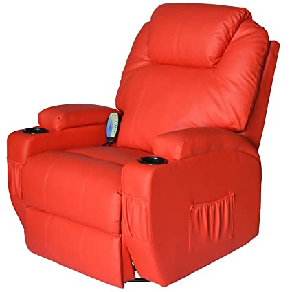 HomCom Deluxe Heated Vibrating PU Leather Massage Recliner Chair   Red