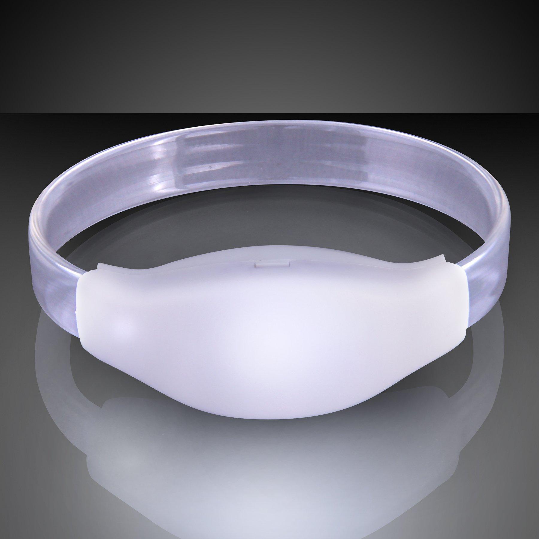 FlashingBlinkyLights Light Up White Sound Activated LED Bracelet (Set of 12)
