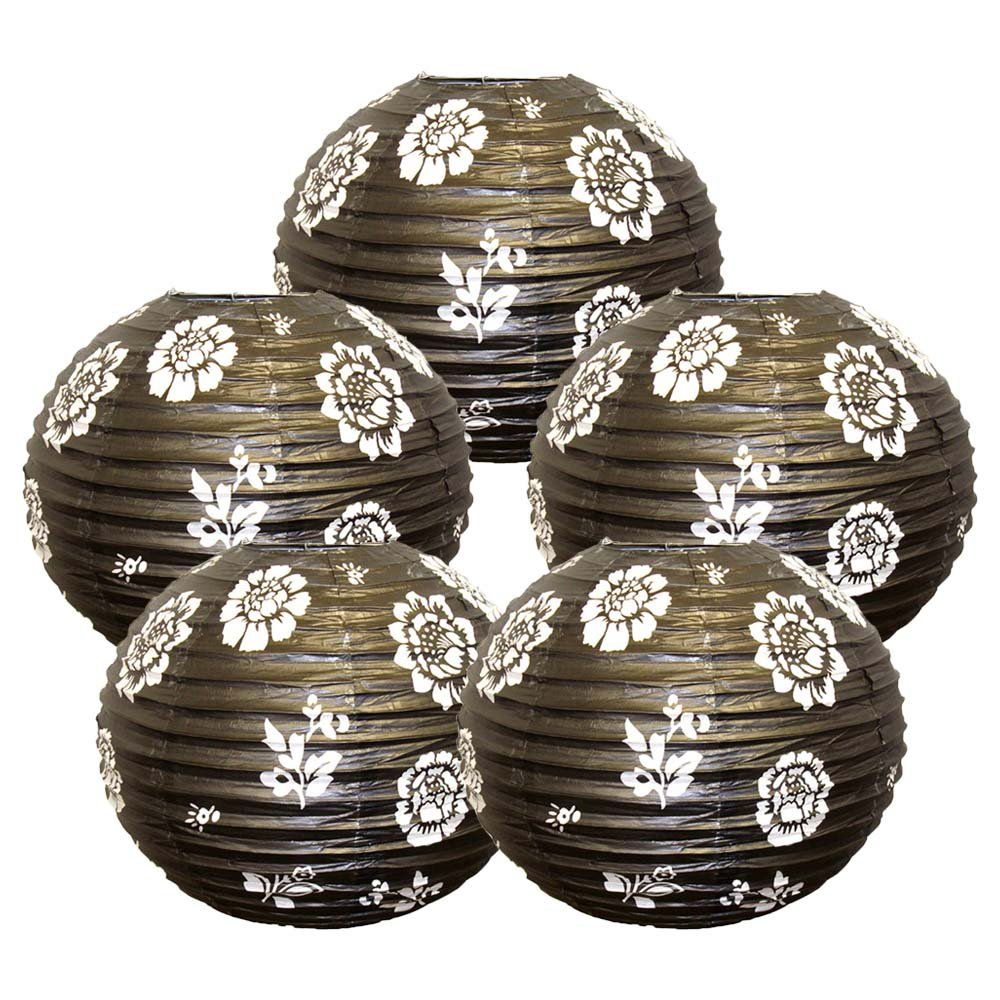 Just Artifacts 16-Inch White Flowers Black Chinese Japanese Paper Lanterns (Set of 5)