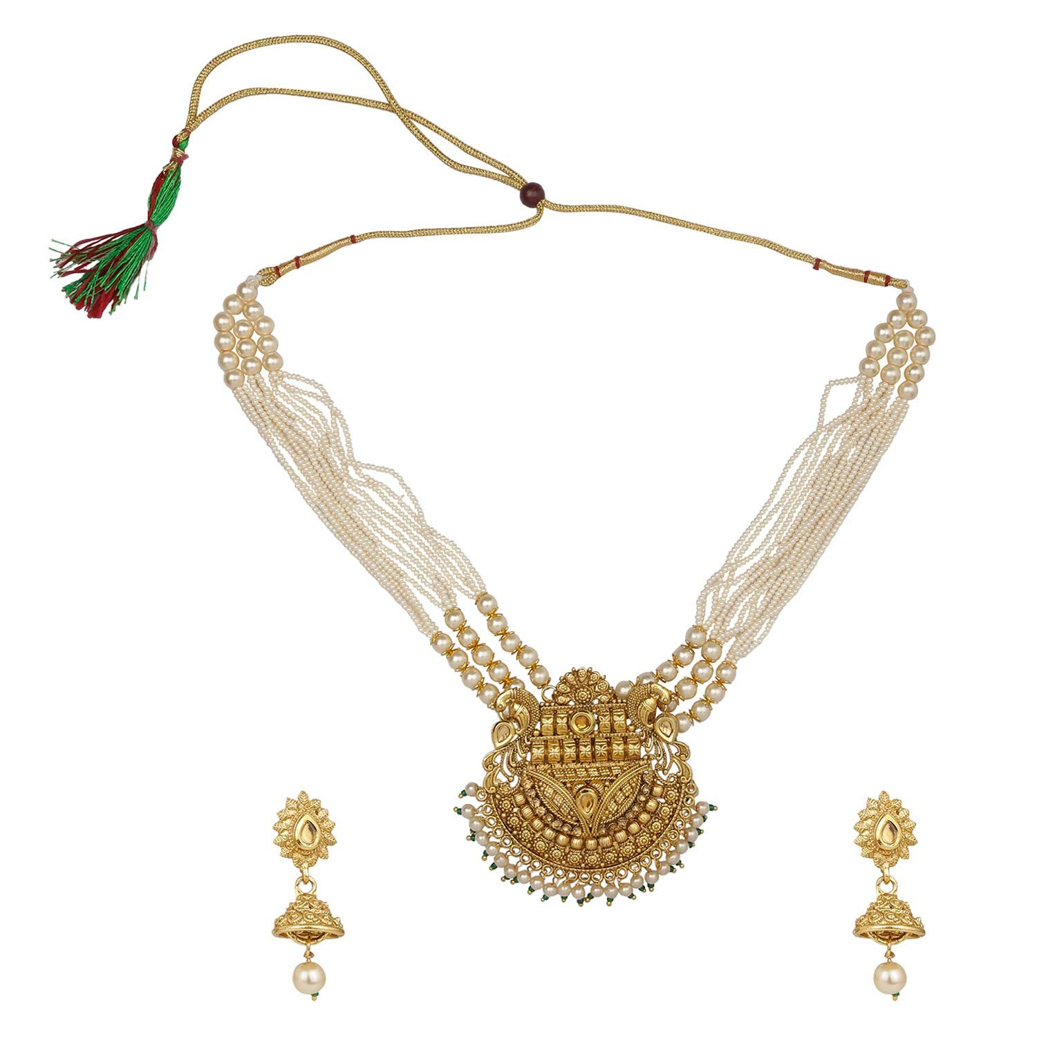 Efulgenz Indian Bollywood Traditional 14 K Gold Plated Crystal Kundan Pearl Beaded Wedding Temple Choker Necklace Earrings Jewelry Set Jaipur Art Jewellery MNT561