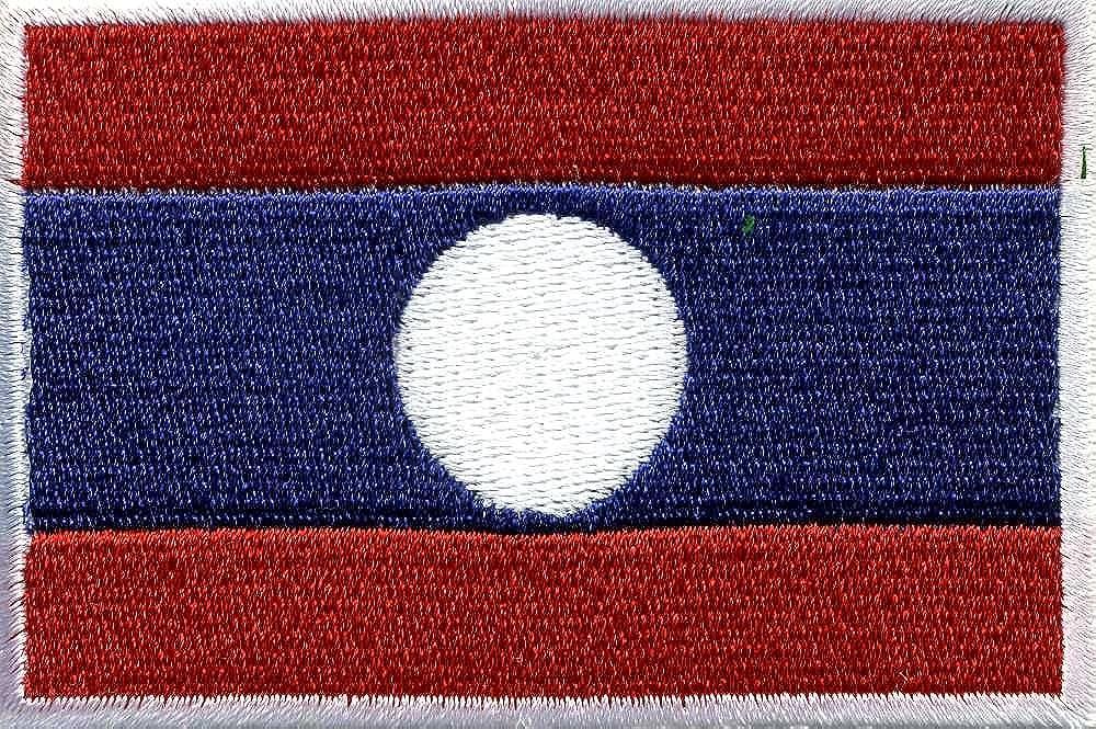 Targhetta Laos misura 8 cm x 5 cm circa easybiz (21617) a forma di penna con logo applicato - Paesi banidera Nation Fan-O-Menal