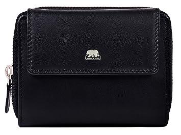 d30617980a2f7 Brown Bear Geldbörse Damen Leder Schwarz groß viele Fächer RFID Schutz und  Reißverschluss hochwertig Design Geldbeutel