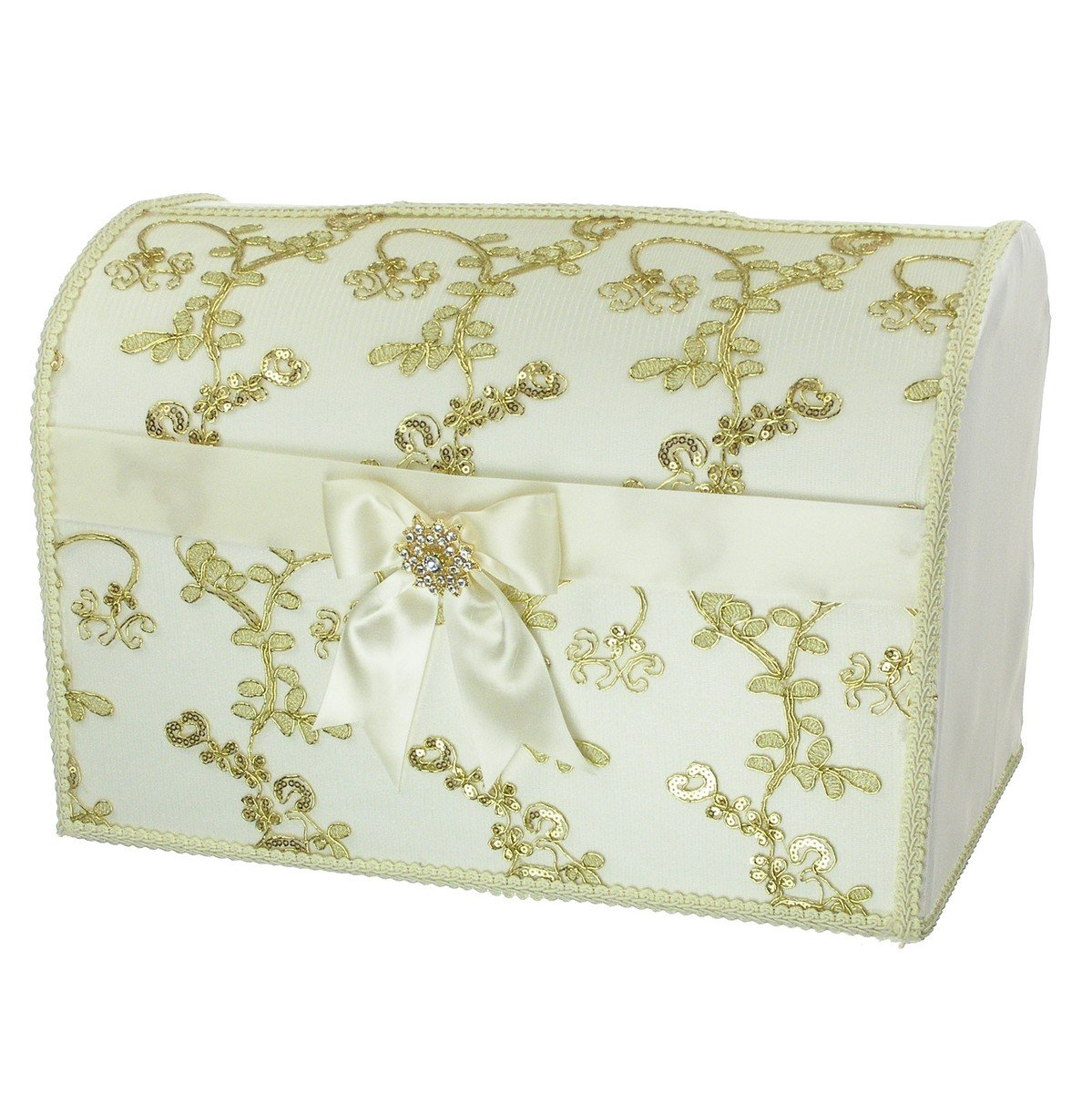 DivaDesigns Decorative Gift Card/Money Box Wedding Theme 15 x 10 x 9 - Gold Tone Embroidery Ivory Satin