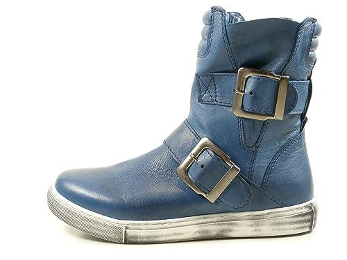 Andrea Conti 0344534 Botines de Cuero para Mujer, Schuhgröße_1:38 EU, Farbe:Azul: Amazon.es: Zapatos y complementos