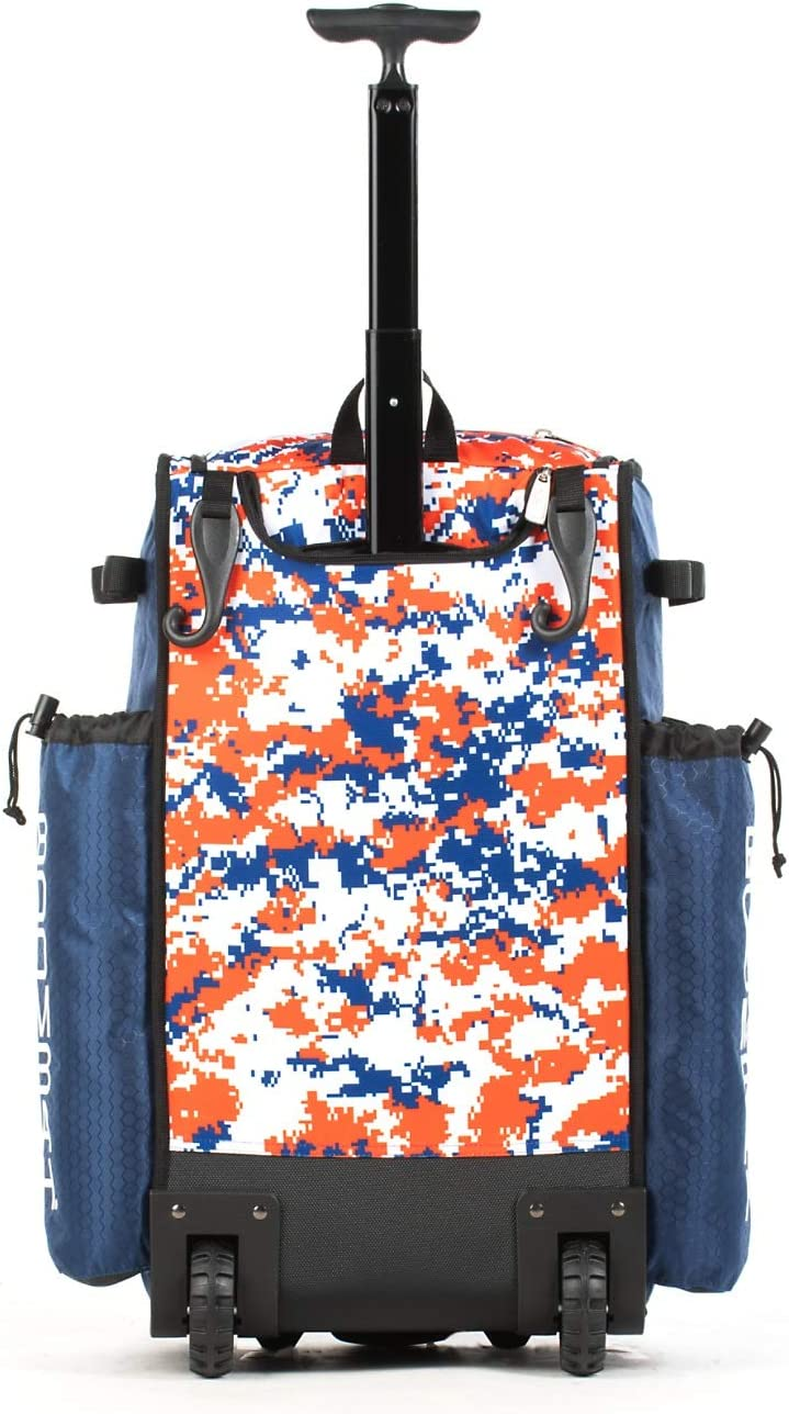 23-1//2 x 13-1//2 x 9-1//2 Multiple Colors Boombah Rolling Superpack 2.0 Camo Baseball//Softball Gear Bag Telescopic Handle and Holds 4 Bats Wheeled Version