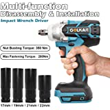 1/2'' Power Impact Wrench Driver Body, 18V Li-ion 350N Impact Driver Cordless Tool Kit Replace for Makita DTW285Z (Battery not Included)