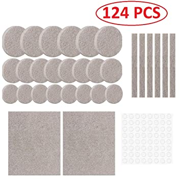 Lukzer 124 Pcs Scratch Proof Felt Pad Assorted Furniture Pads/Multi-Functional Self-Adhesive Pad/Floor Protector Furniture Pads/Furniture Table Sofa Leg pad