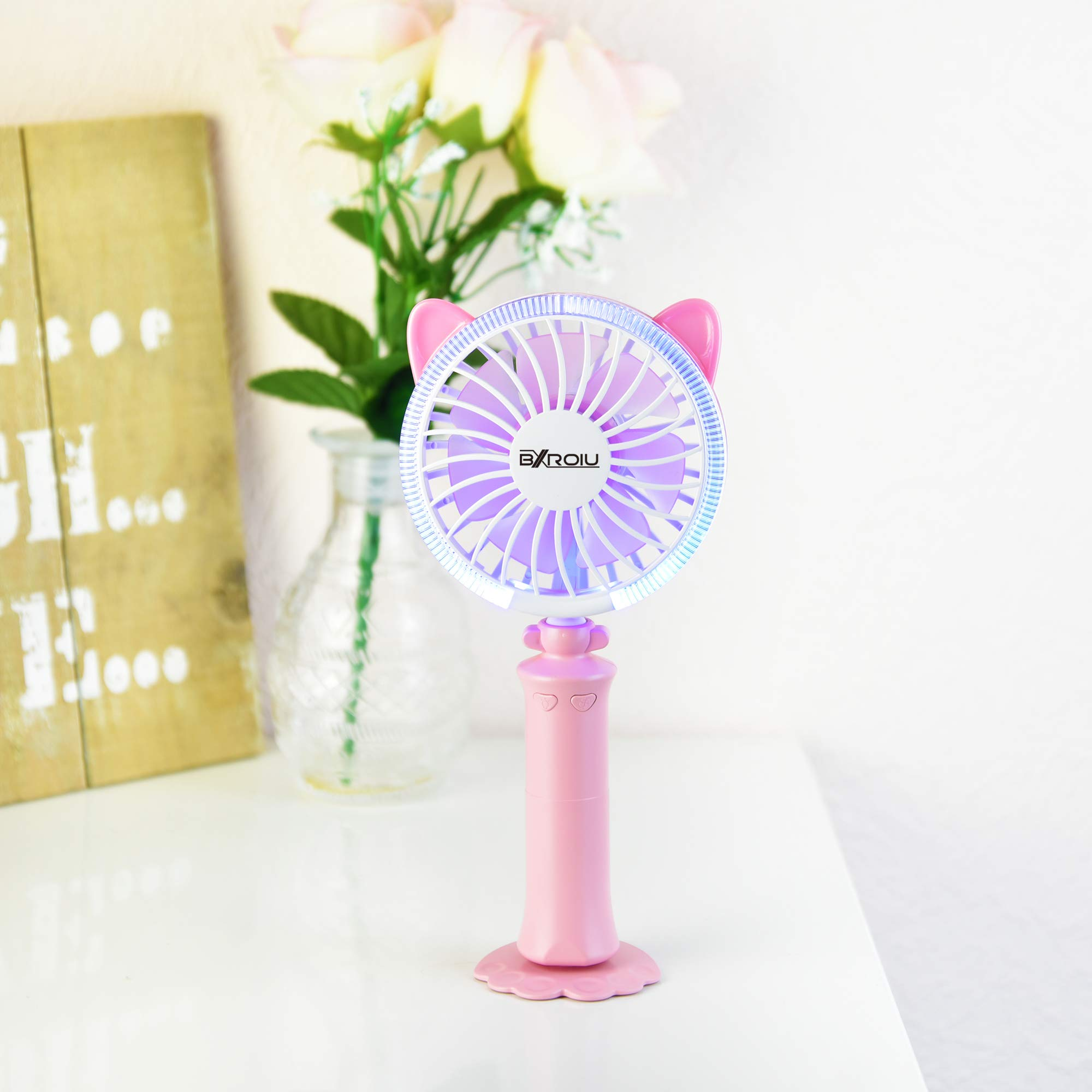 bxroiu Mini Portable Handheld Fans with Multi-color change lights USB Fan Rechargeable Battery for Kids Outdoor Household Traveling Desktop pink