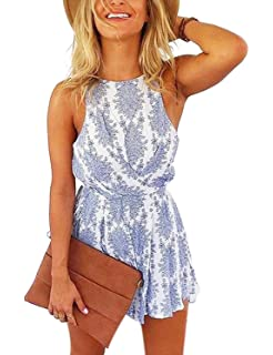 72ccfc7f0fd Sunm boutique Women Sexy Strap Backless Summer Beach Party Romper Jumpsuit  Floral Print Backless Shorts Beach