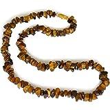 Collier bijoux de pierre gemme, oeil de tigre, naturel, chips, 5-8mm