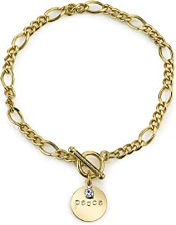 product image for 1928 Jewelry 14K Gold-Dipped Peace Charm Bracelet with Sentiments Crystal Charm