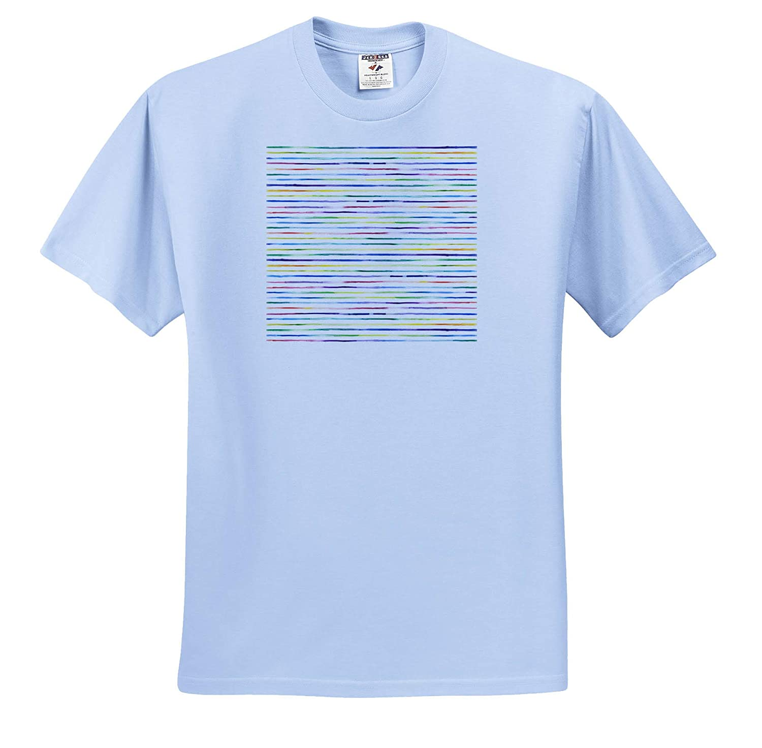 Adult T-Shirt XL Patterns 3dRose Anne Marie Baugh ts/_309418 Rainbow Image of Watercolor Thin Stripes Pattern