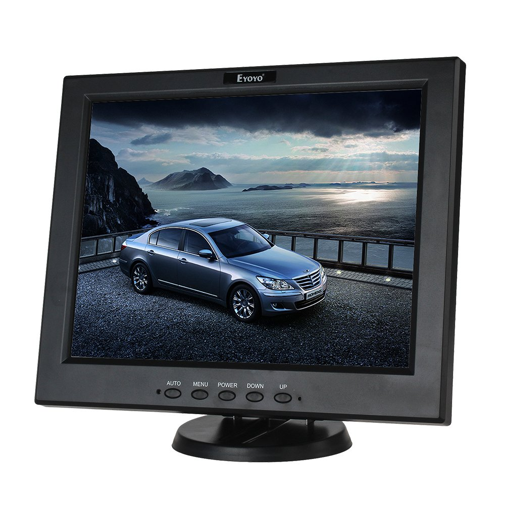 Eyoyo 12 Inch HDMI Monitor with BNC VGA AV HDMI Input 800x600 Portable 4:3 TFT LCD Mini HD Color Video Screen with Bulit-in Speaker