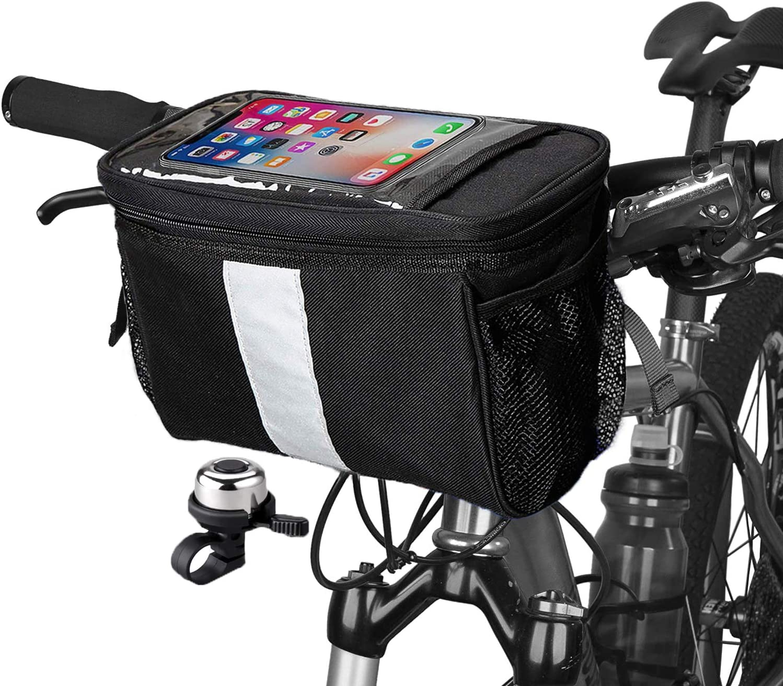 Black Bicycle Handlebar Basket Bag Bike Reflective Front Pannier Tube Waterproof