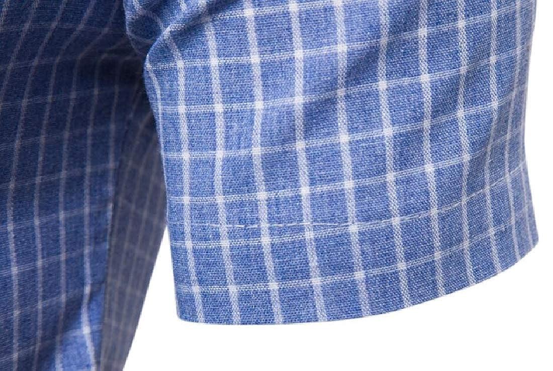Alion Mens Regular Fit Stand Collar Short Sleeve Button Down Plaid Dress Shirt