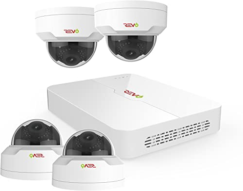 Revo America Ultra 4Ch. 1TB HDD 4K IP NVR Security System – Fixed Lens IP Cameras 4 x 4MP Mini Vadal Dome Cameras – Remote Access via Smart Phone, Tablet, PC MAC