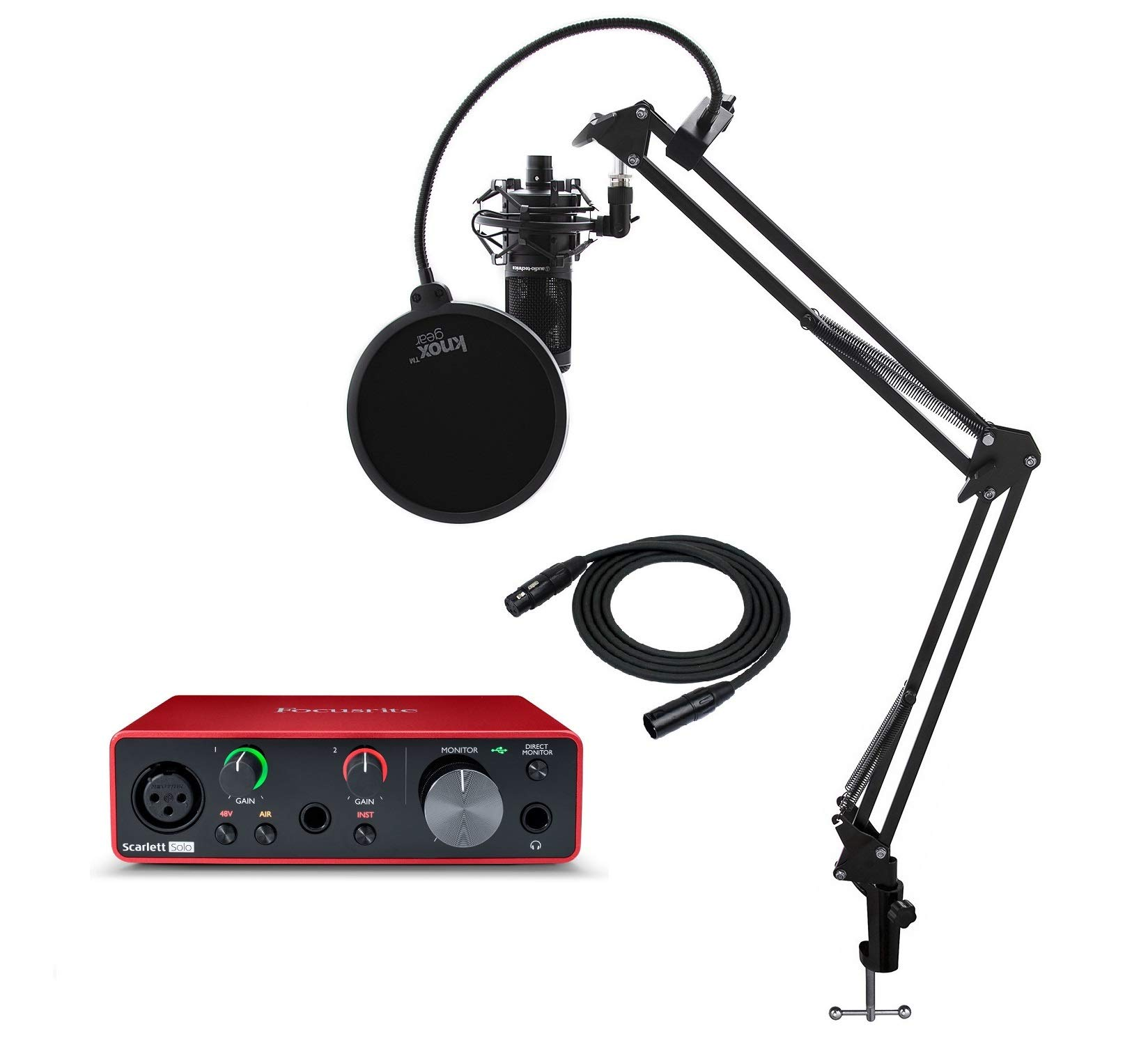 Focusrite Scarlett Solo 3rd Gen USB Audio Interface Bundle with AT2020 Microphone, Knox Gear Studio Stand, XLR Cable, Shock Mount and Pop FIlter (6 Items)