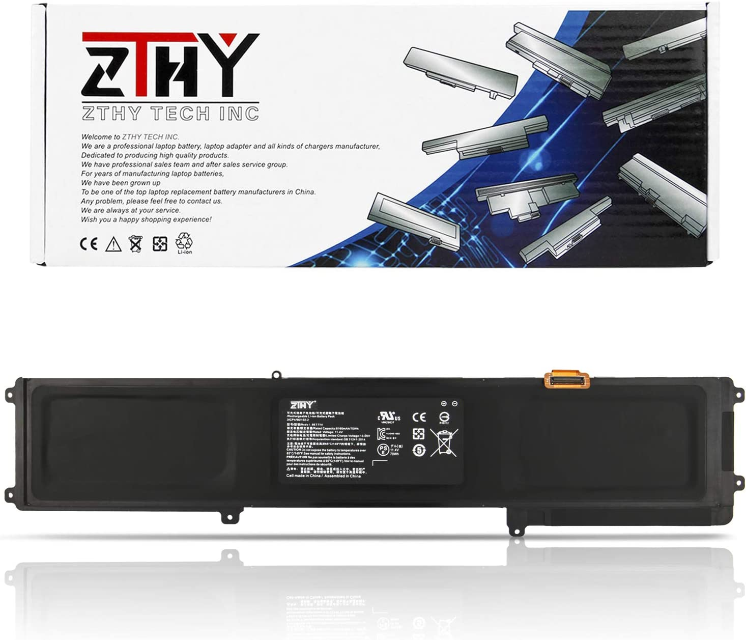 "ZTHY New BETTY4 Laptop Battery Replacement for Razer Blade 2016 14"" V2 GTX 1060 RZ09-0165 RZ09-0195 RZ09-01952E72 RZ09-01953E72 RZ09-01953E71 RZ09-01953W52 RZ09-01652E21 RZ09-01952E31 11.4V 70Wh"