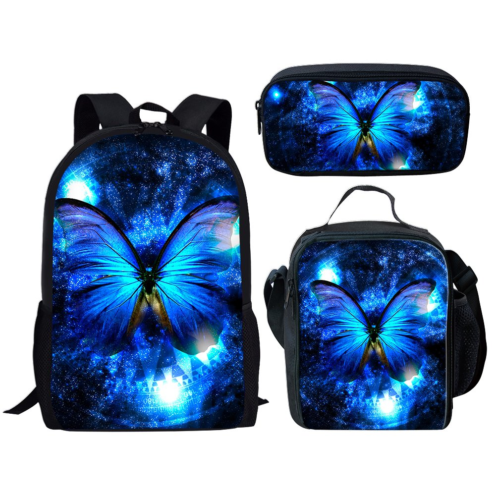 Backpack Set Butterfly Print Pencil Case Lunch Bag Book Bag Set for Girl School Teen Children Travel Daypack