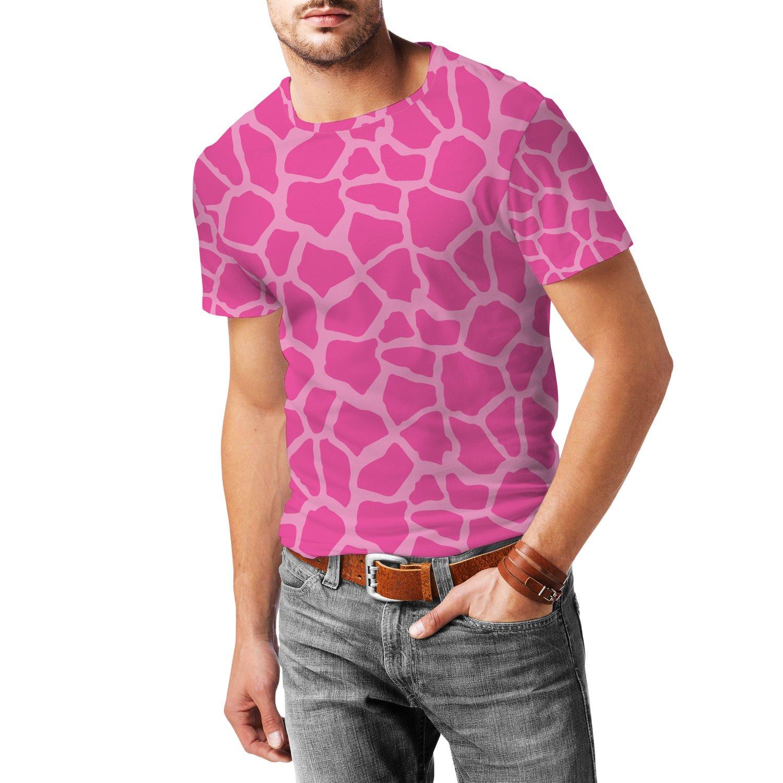 Giraffe Print Bright Pink Mens Sport Mesh T-Shirt