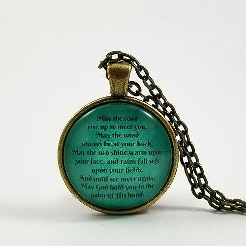 Amazoncom Irish Blessing Necklace Irish Quote St Patricks