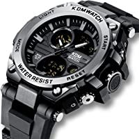 Mens Watches Black Men Digital Analogue Military Waterproof Sports Wrist Watch Multifunction LED Chronograph Alarm Day Date Calendar Trend Casual Design Shcok Digital Watches for Men Boys Teenagers