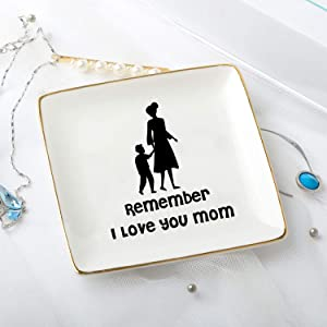 zhengshizuo Remember I Love You Mom Jewelry Ring Trinket Tray Dish Plate Box Gift for Mom Mother in Law New Mom Daughter Birthday Christmas Home Decorative