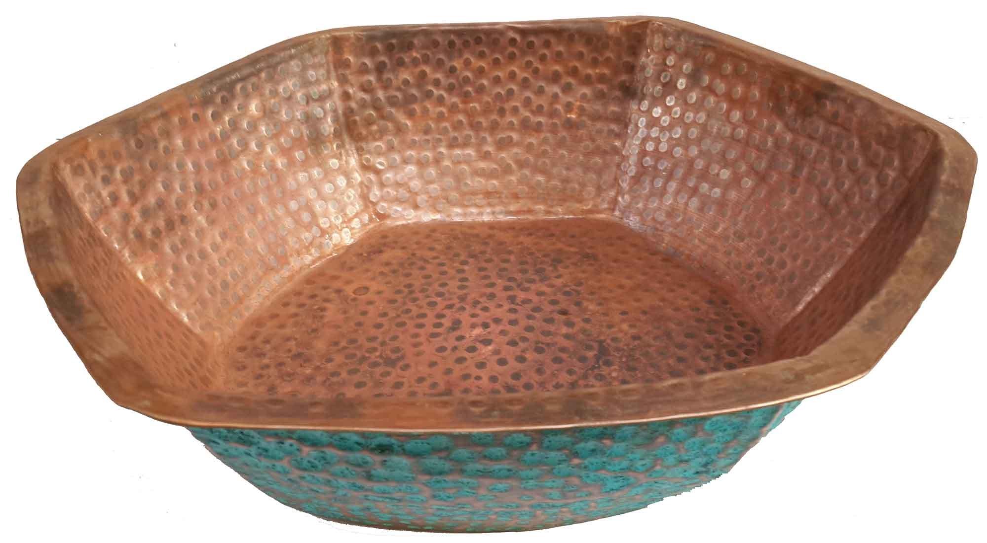 Egypt gift shops Hexagonal Verdigris Fire Burnt Foot Massage Bath Bucket Pedicure Spa Styling Salon Pedicure Bowl by Egypt Gift Shops