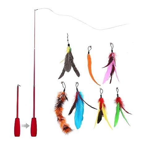 PAWACA Juguetes de plumas,8 recambios de juguete para gatos,ratón,mariposa,