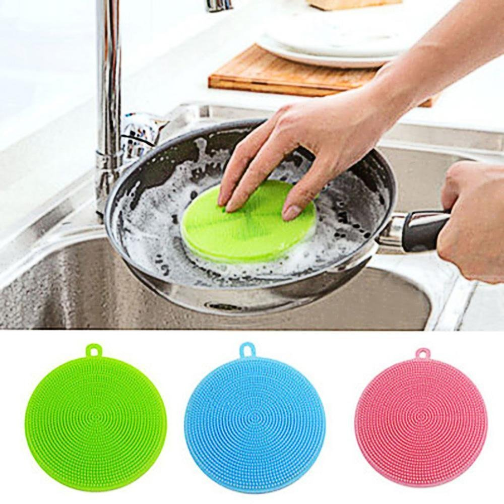 Silicone Washing Brushes Set of 3,niceeshop(TM) Non Stick Heat-resistant Dish Scrubber Sponges for Dish, Fruit and Vegetable