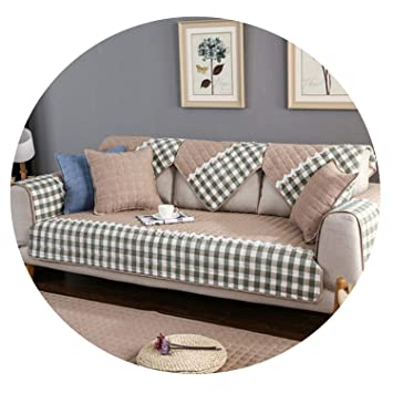 Amazon.com: Pastoral Khaki Pink Plaid Sofa Cover Pure Cotton ...