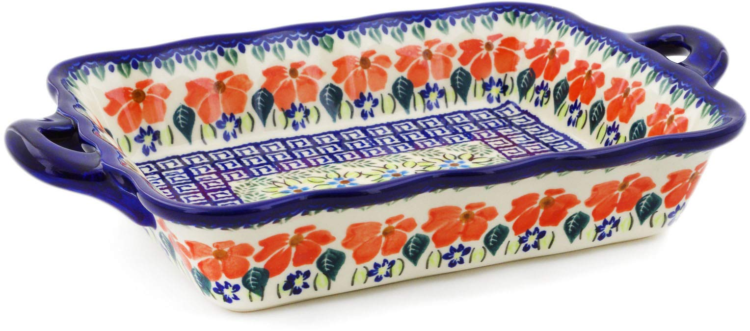 Polish Pottery 12-inch Rectangular Baker with Handles (Grecian Fields Theme) + Certificate of Authenticity