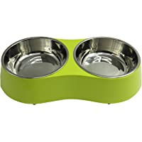 Double Stainless Steel Dog Bowl Set in Raised Melamine Stand Food and Water Bowls for Puppies Cats Antiskid Drinking Feeding Dishes Green