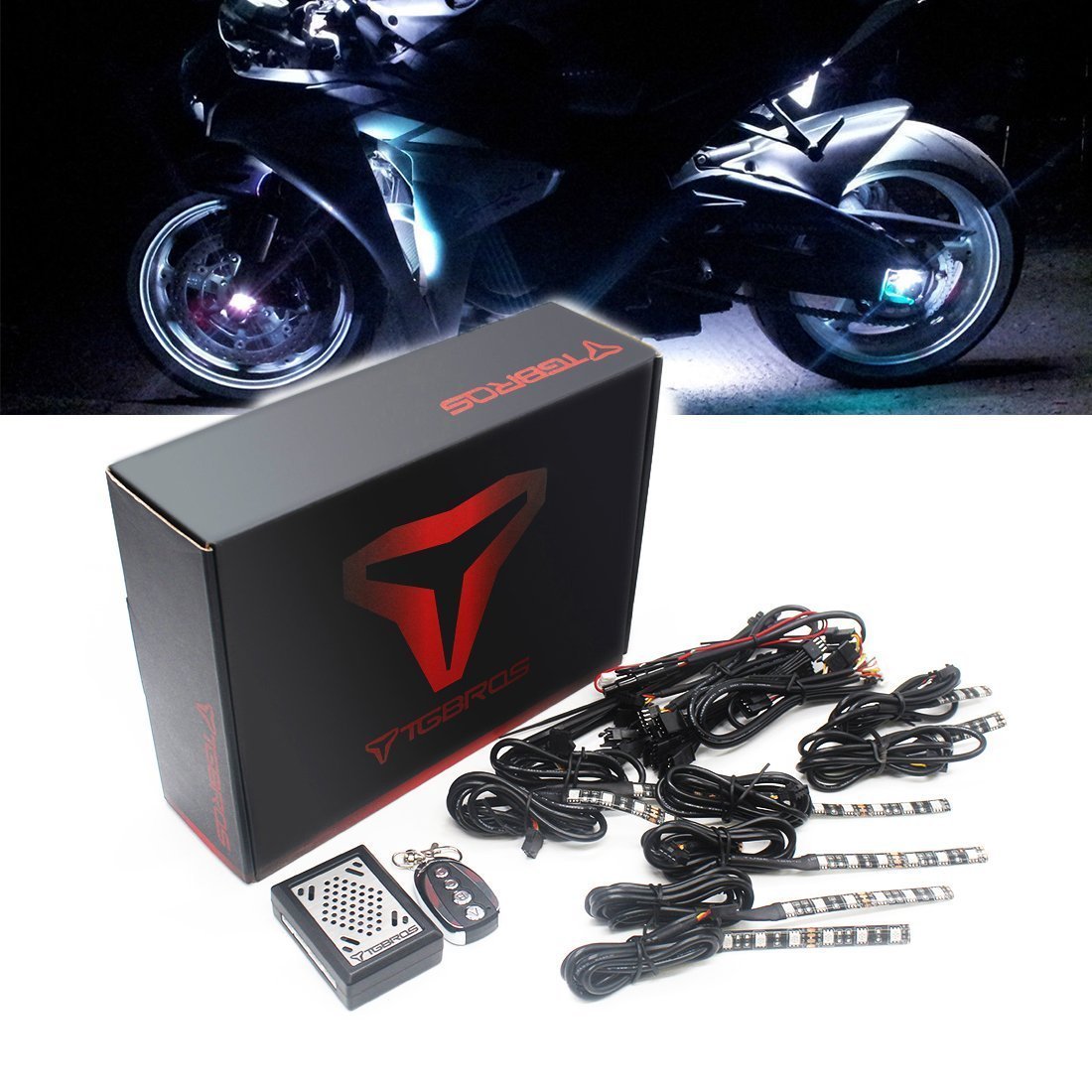 Boats BBUT 6PCS Muti-Colour Sound Activated Flash Motorcycle LED Accent Light Kit Under Glow RGB 5050 Strips For All Motorcycle ATV