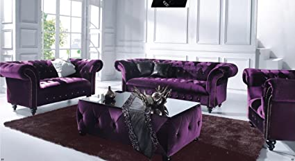 Speedy Sofas Victoria Single Chesterfield Boutique Crush Purple Velvet Sofa Amazon Co Uk Kitchen Home