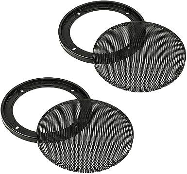 2 pezzi Griglia per altoparlante DIN da 130 mm tomzz Audio /® 2800-001 colore: nero anello in plastica con griglia in metallo