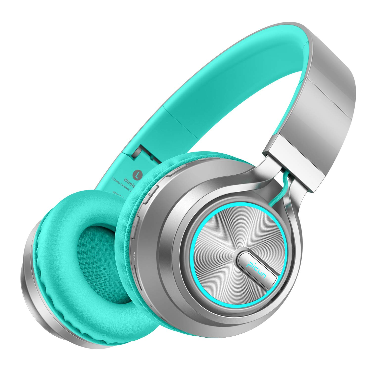 Wireless Headphones 20 Hrs w/Romantic LED Light, HiFi Stereo Picun Bluetooth 5.0 Headphones Over Ear w/Deep Bass/HD Mic/Bag, Protein Earpads, Foldable, TF Card/Wired Mode for PC Cellphone (Grey/Mint)