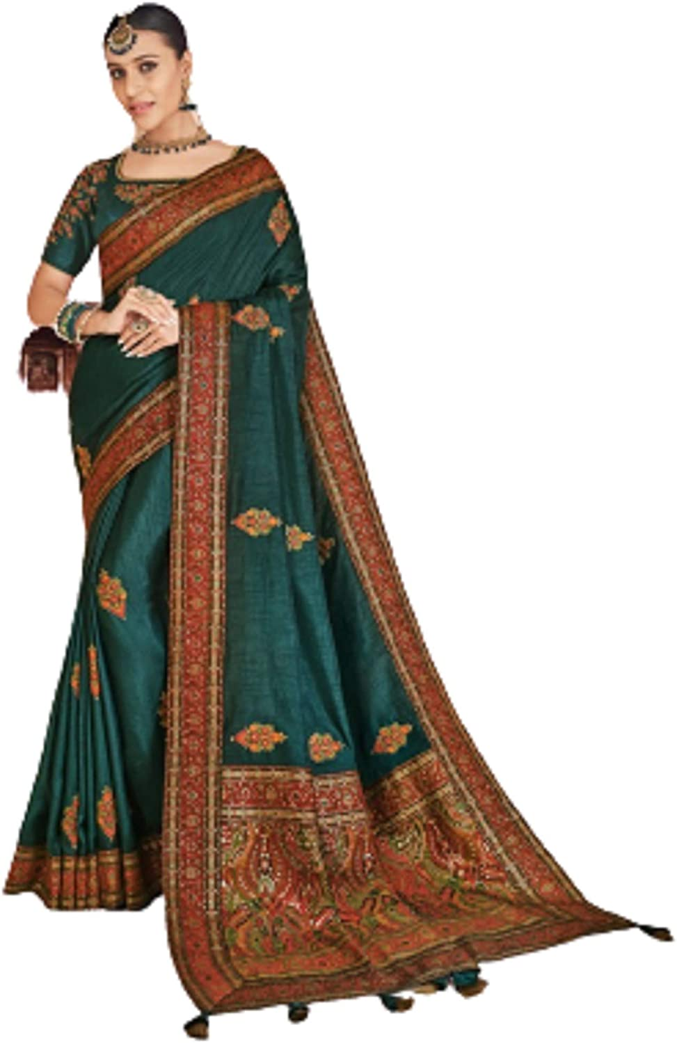 Festive Wear classy Dola Silk Saree with unstiched Blouse Rich look with BANARASI Border /& Hand Work