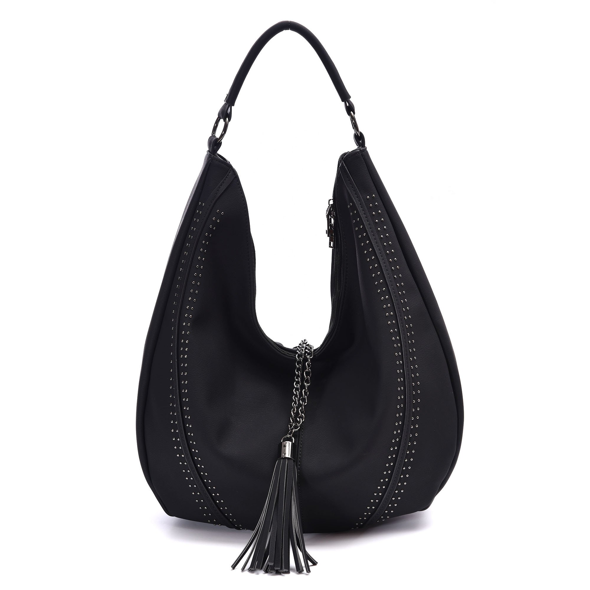Handbags for Women, Hobo Shoulder Bags Of PU Leather Large Compacity Tote Purses With Tassel Decoration (Black)