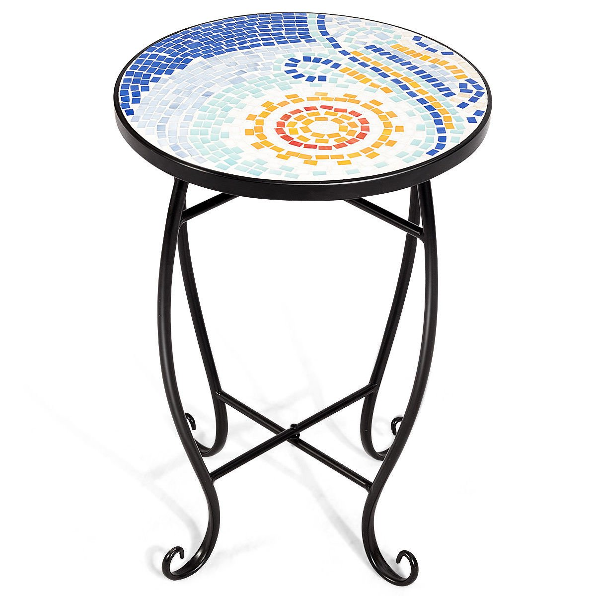 "NanaPluz 21"" H Blue Ocean Round Plant Stand Steel Scheme Garden Decor Display Accent Table Curved Legs Mosaic Inlay Top with Ebook"