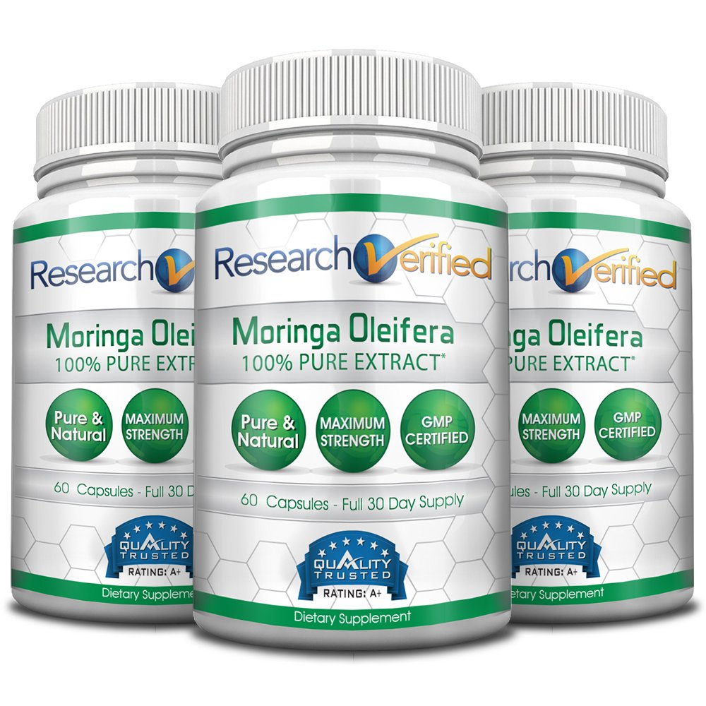 Research Verified Moringa Oleifera - The Best Moringa Oleifera Supplement on market - with 100% Pure Extract for the Ultimate Moringa Oleifera Quality. 100% money-back guarantee! 3 Month Supply
