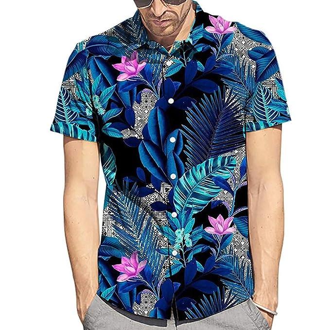 Oliviavan Camiseta de Manga Corta para Hombre,Verano Camisetas Casual Hombre Viento Hawaiano Estampado cocotero de Solapa de Ocio Confort Ropa de Playa: ...