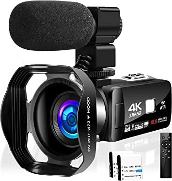 Macro Lens 16x Zoom,Cold Shoe,External Microphone IR Infrared Night Vision Camera Ablue 4K 48MP Video Camera WiFi Wide-Angle Digital Damcorder Vlogging Camera,Video Recorder