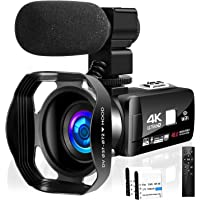 Camcorder Video Camera 4K 48MP 18X Video Camera WiFi YouTube Camera IR Night Vision Camcorder with 360°Wireless Remote…