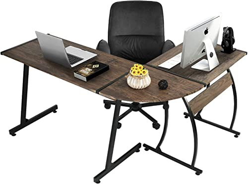GreenForest L Shaped Gaming Computer Desk 58.1'',L-Shape Corner Gaming Table,Writing Studying PC Laptop Workstation 3-Piece