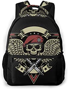 "Multifunctional Casual Backpack,Fashion Trend Knapsack,Cute Backpack11.5 X 16"""""""" X 8""""""""-Military Skull Patch Beret Emblem Soldier Badge Knife with Wings and Dagger Patches-01"